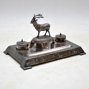 Antique Silver Plate Stag Inkwell Stand by James Deakin