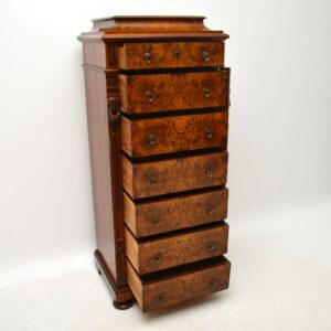 Antique Swedish Burr Walnut Wellington Chest of Drawers