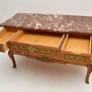 Antique Swedish Inlaid Marble Top Commode