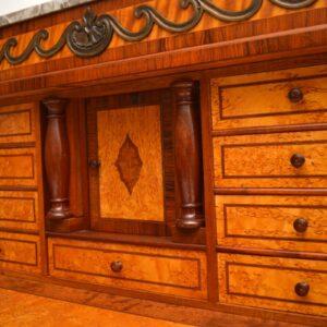 Antique Swedish Marble Top Secretaire Cabinet