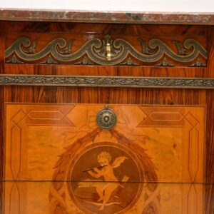Antique Swedish Inlaid Marquetry Marble Top Commode