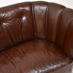 Antique Swedish Leather Banana Sofa