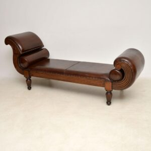 Antique Swedish Leather Chaise Lounge