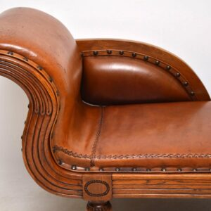 Antique Swedish Regency Leather & Walnut Chaise Lounge
