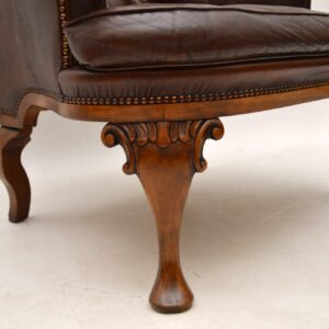 Antique Swedish Leather Wing Back Armchair