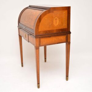 Antique Swedish Inlaid & Marquetry Cylinder Top Desk