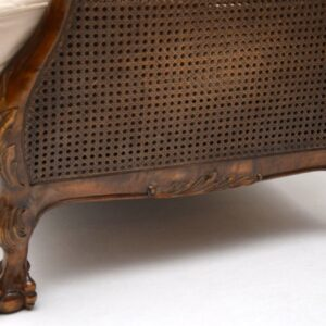 Antique Swedish Satin Birch Bergere Sofa