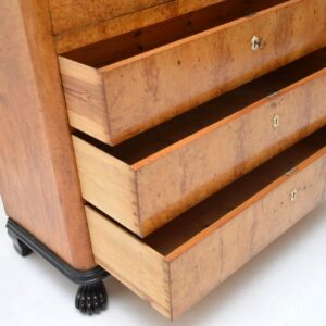 Antique Swedish Satin Birch Secretaire Chest