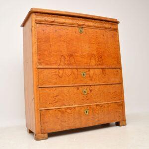Antique Swedish Satin Birch Secretaire Bureau