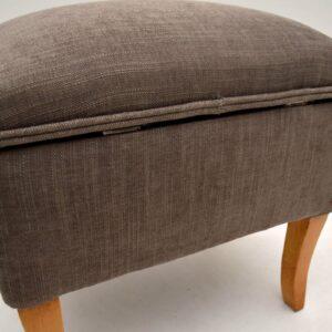 Antique Upholstered Satin Wood Stool / Storage Box