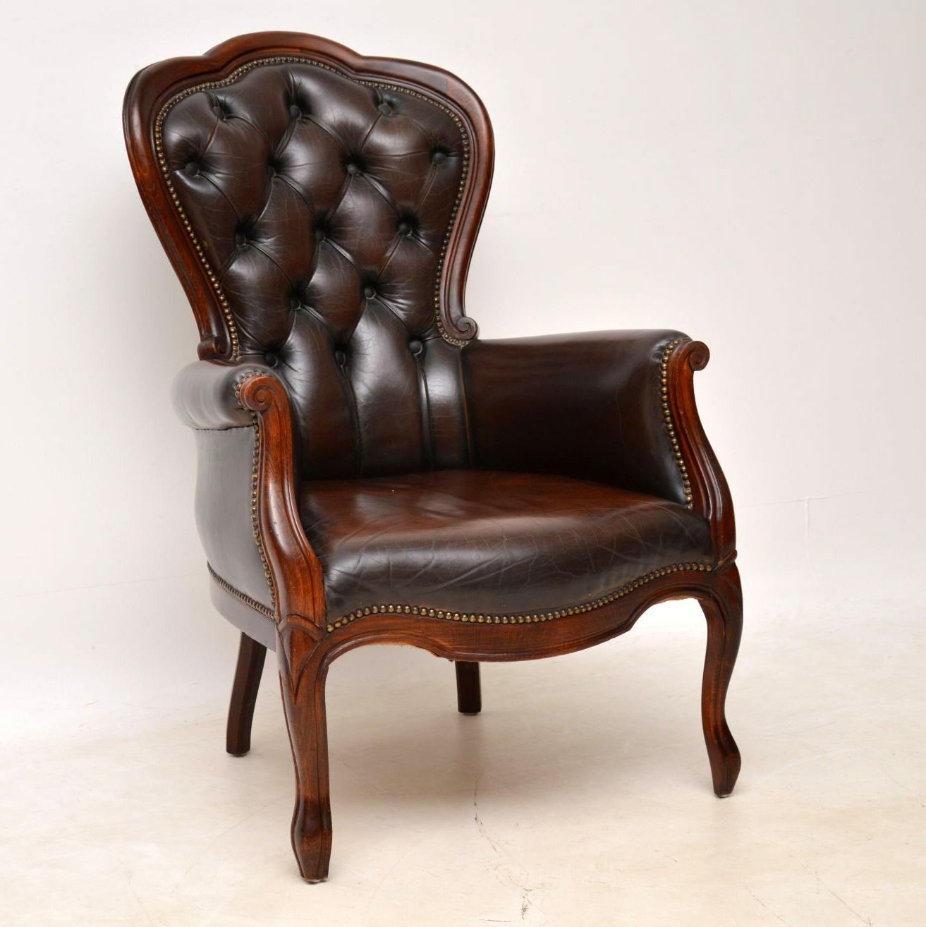 Antique Victorian Style Leather & Mahogany Armchair