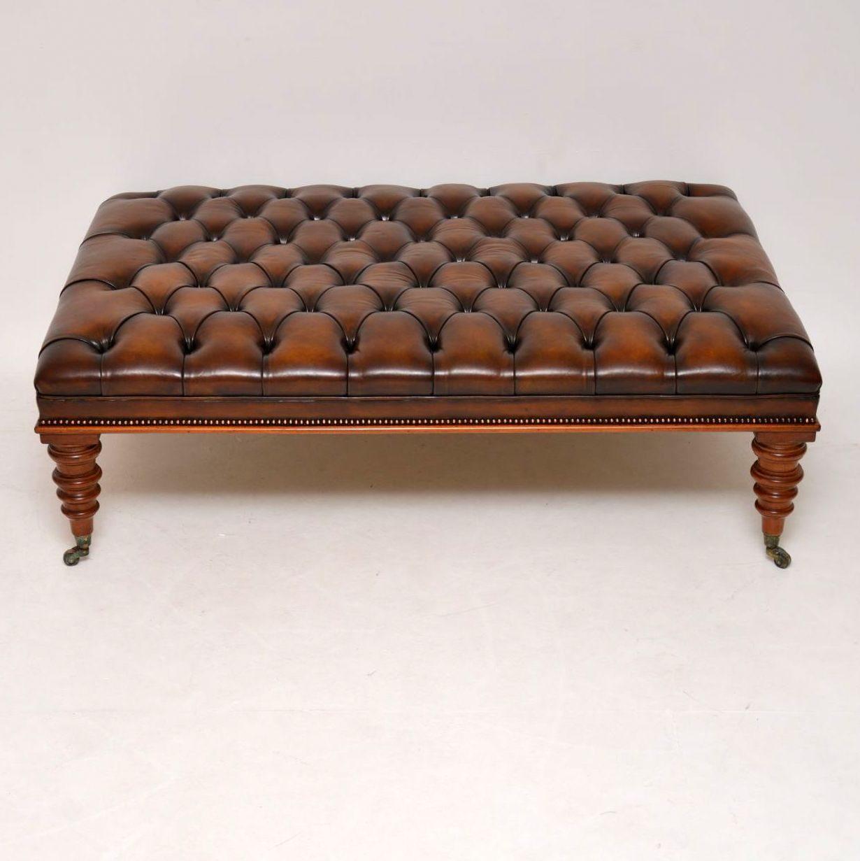 Large Antique Victorian Style Leather & Mahogany Stool / Coffee Table