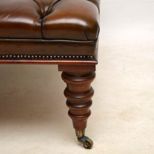 Antique Leather Deep Buttoned Stool / Coffee Table