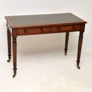Antique Victorian Leather Top Mahogany Writing Table