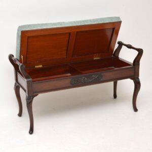 Antique Victorian Mahogany Duet Piano Stool