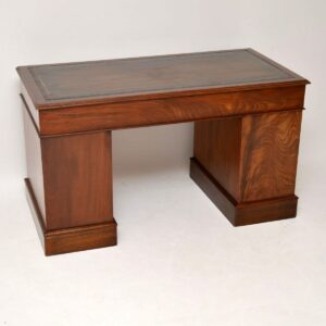 Antique Victorian Mahogany Leather Top Pedestal Desk