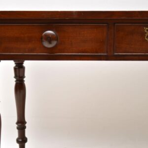 Antique Victorian Mahogany Leather Top Writing Table / Desk