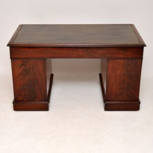Antique Victorian Mahogany Leather Top Desk