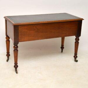 Antique Victorian Satin Birch Leather Top Desk