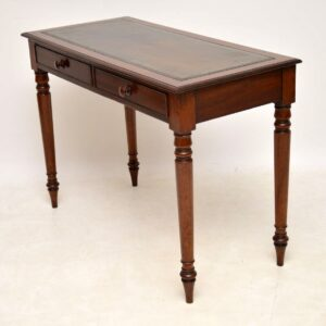 Antique Victorian Mahogany Leather Top Writing Table