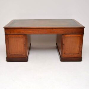 Antique Victorian Mahogany Leather Top Partners Desk