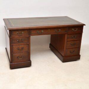 Antique Victorian Mahogany Pedestal Desk