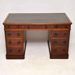 Antique Victorian Mahogany Leather Top Pedestal Desk