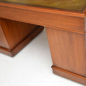 Antique Victorian Mahogany & Leather Pedestal Desk