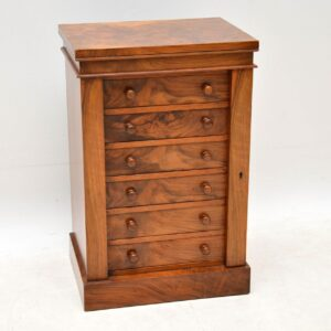 Antique Victorian Miniature Walnut Wellington Chest of Drawers