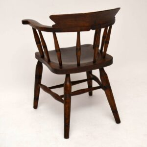 Antique Victorian Elm Captains Desk Chair