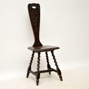 Antique Victorian Welsh Oak Spinning Chair