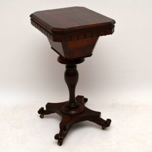 Antique William IV Rosewood Sewing Box Table