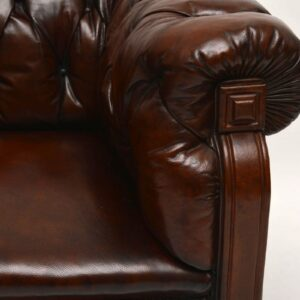 Antique Swedish Leather Chesterfield Sofa