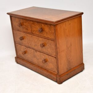 Antique Victorian Burr Walnut Chest of Drawers by James Shoolbred