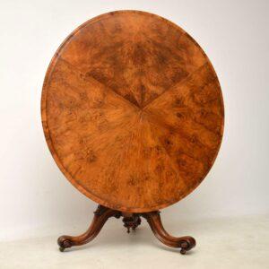 Antique Victorian Burr Walnut Breakfast Table