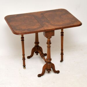Antique Burr Walnut Drop Leaf Side Table