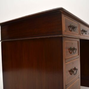 Antique Satinwood Inlaid Mahogany Leather Top Desk