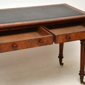 Antique Victorian Burr Walnut Leather Top Writing Table