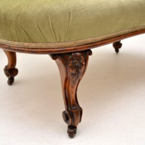Antique Victorian Carved Walnut Love Seat Settee