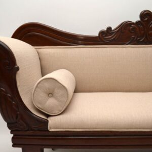 Antique William IV Carved Mahogany Upholstered Sofa