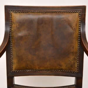 Antique Leather & Mahogany X Frame Armchair