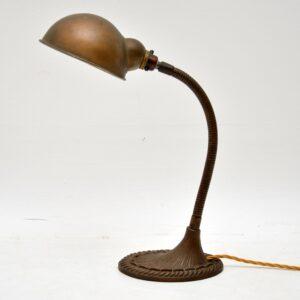 Antique Patinated Brass Art Nouveau Desk Lamp