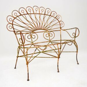 Antique Wrought Iron Garden Bench , Chairs & Table