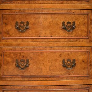 Slim Antique Burr Walnut Bow Front Chest of Drawers