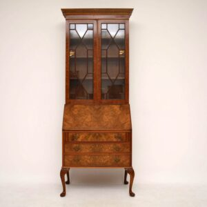 Antique Burr Walnut Bureau Bookcase