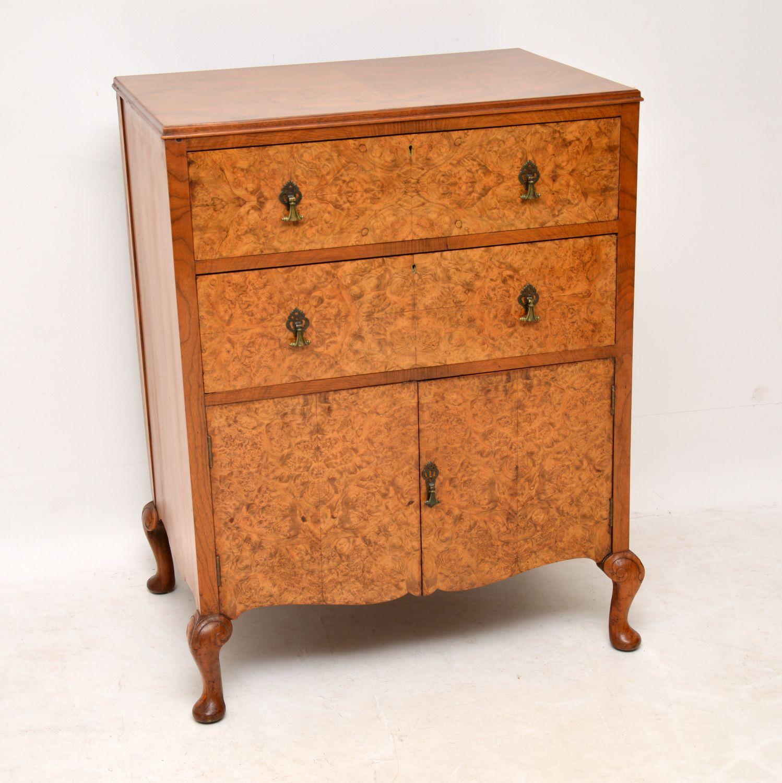 Antique Burr Walnut Chest on Cabinet