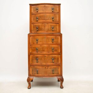 Small Antique Figured Walnut Chest on Chest