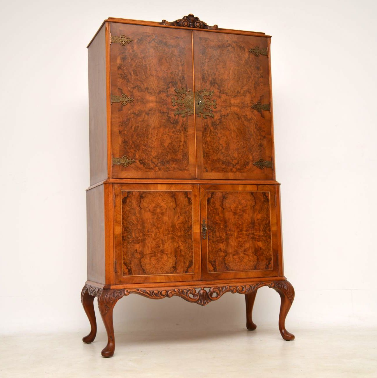 Antique Queen Anne Style Walnut Cocktail Cabinet