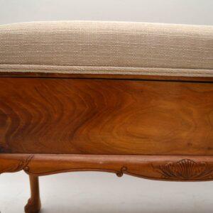 Antique Figured Walnut Duet Piano Stool