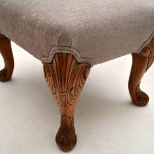 Antique Queen Anne Style Walnut Foot Stool